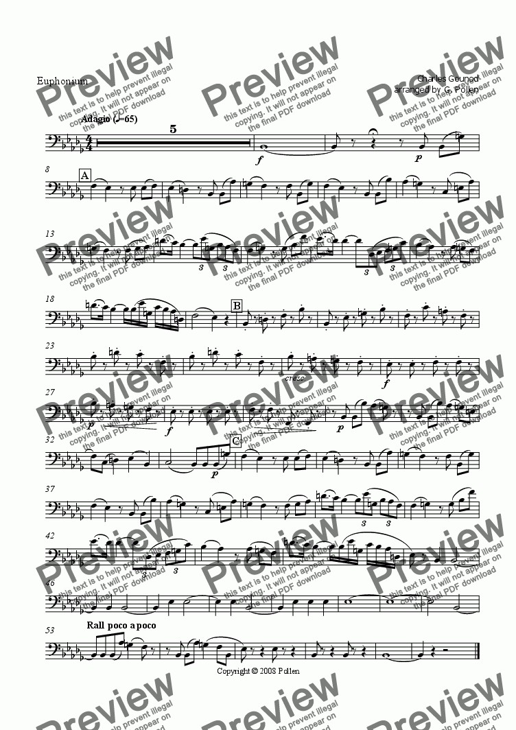 page one of the Euphonium part from Faust Ballet Music: 2. Slow Dance (CB)