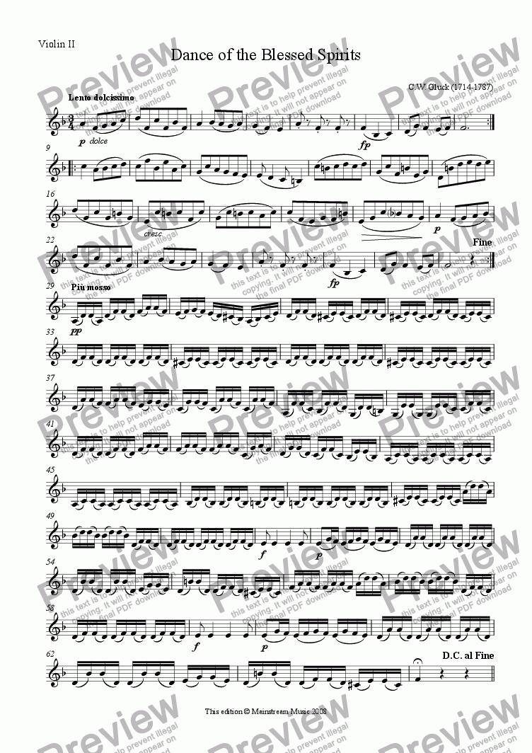 page one of the Violin II part from Dance of the Blessed Spirits - Flute & Strings