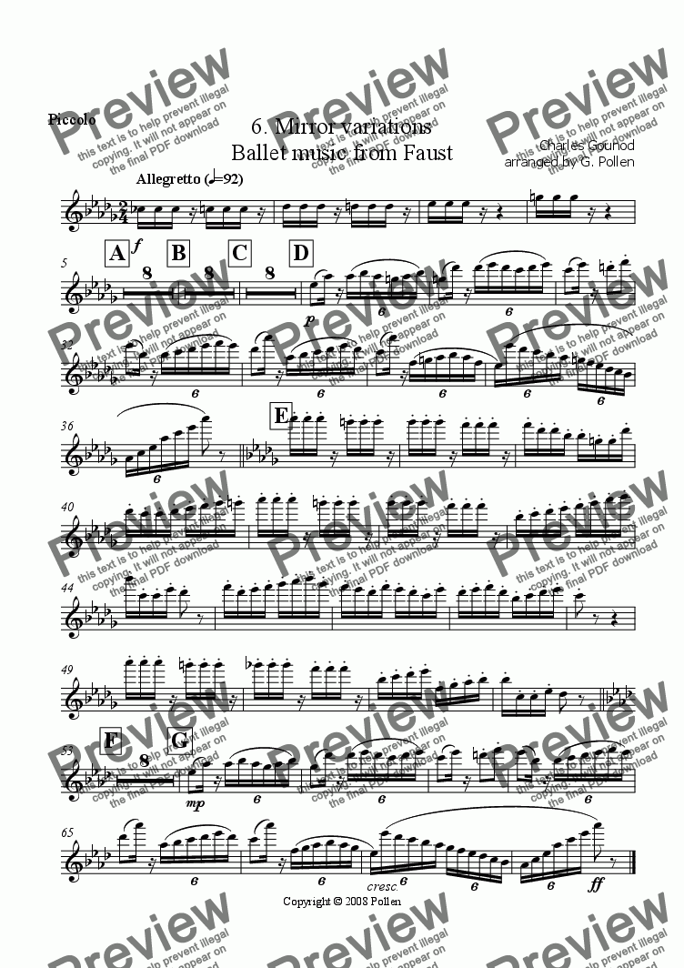 page one of the Piccolo part from Faust Ballet Music: 6. Mirror Variations (CB)