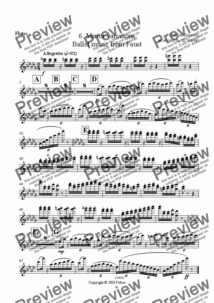 page one of the Flutes part from Faust Ballet Music: 6. Mirror Variations (CB)