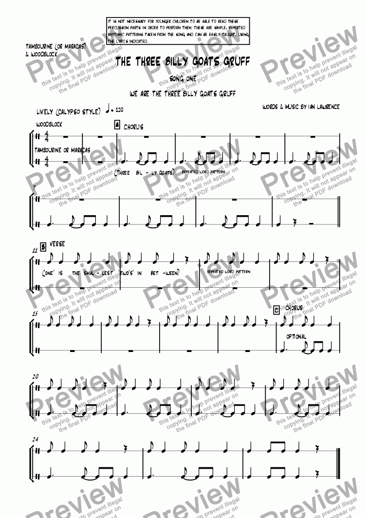 page one of the Percussion parts part from The Three Billy Goats Gruff : Song One - We Are the Three Billy Goats Gruff