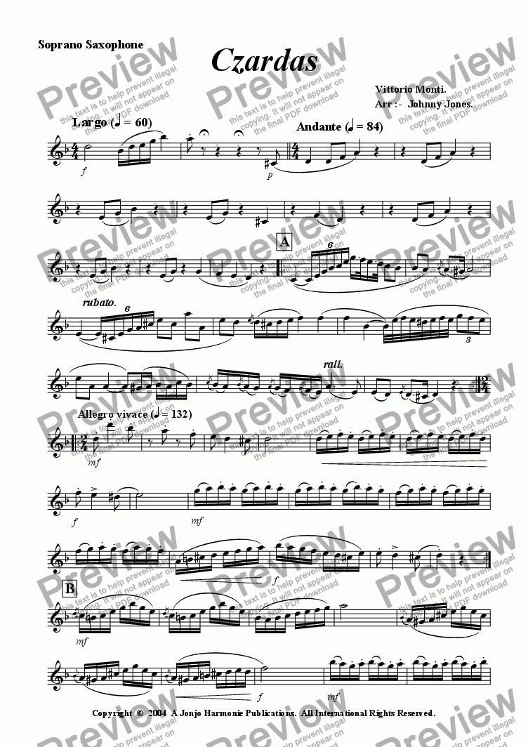 page one of the Soprano Saxophone part from Czardas   (Saxophone Quartet)