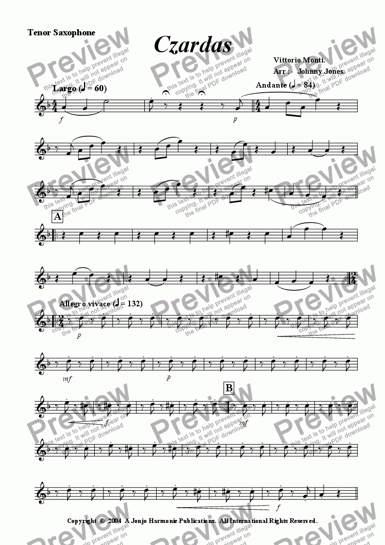 page one of the Tenor Saxophone part from Czardas   (Saxophone Quartet)
