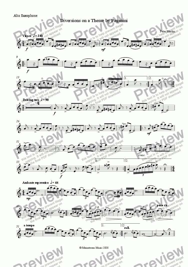 page one of the Alto Saxophone part from Diversions on a Theme by Paganini - Alto Saxophone & Piano