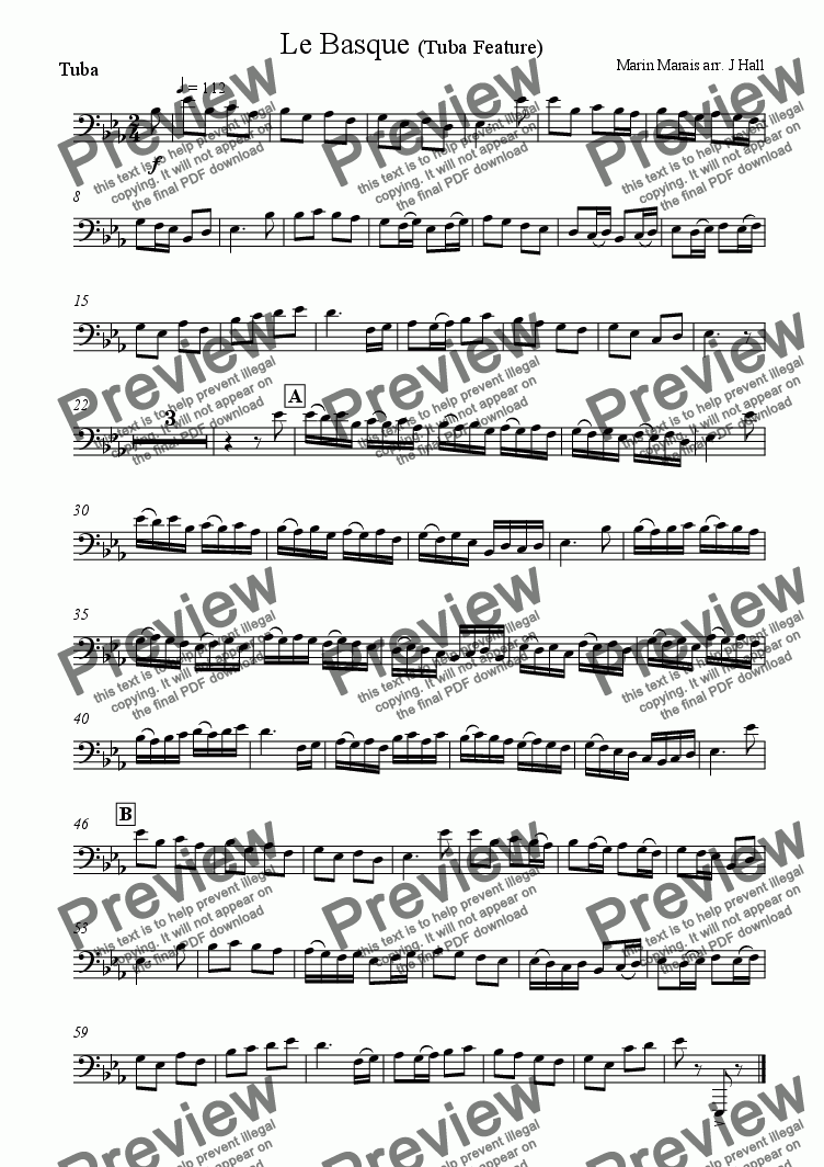 page one of the Tuba part from Le Basque - Tuba Feature