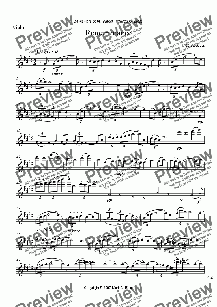 page one of the Solo Violin part from Remembrance