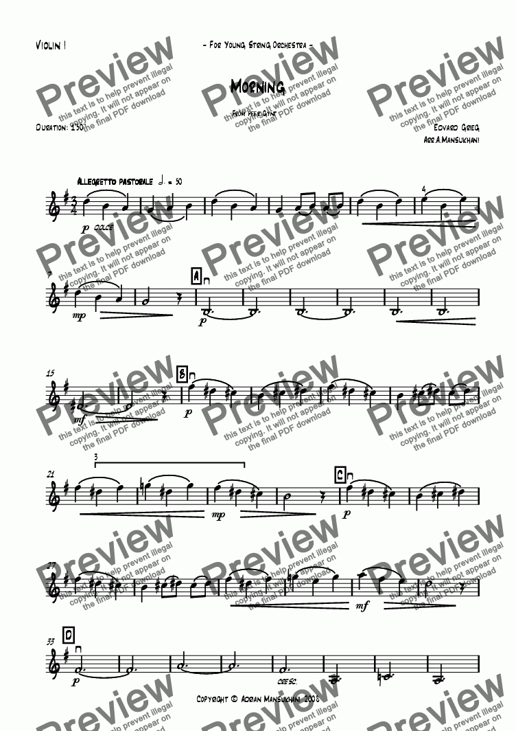 page one of the Violin 1 part from Morning from Peer Gynt
