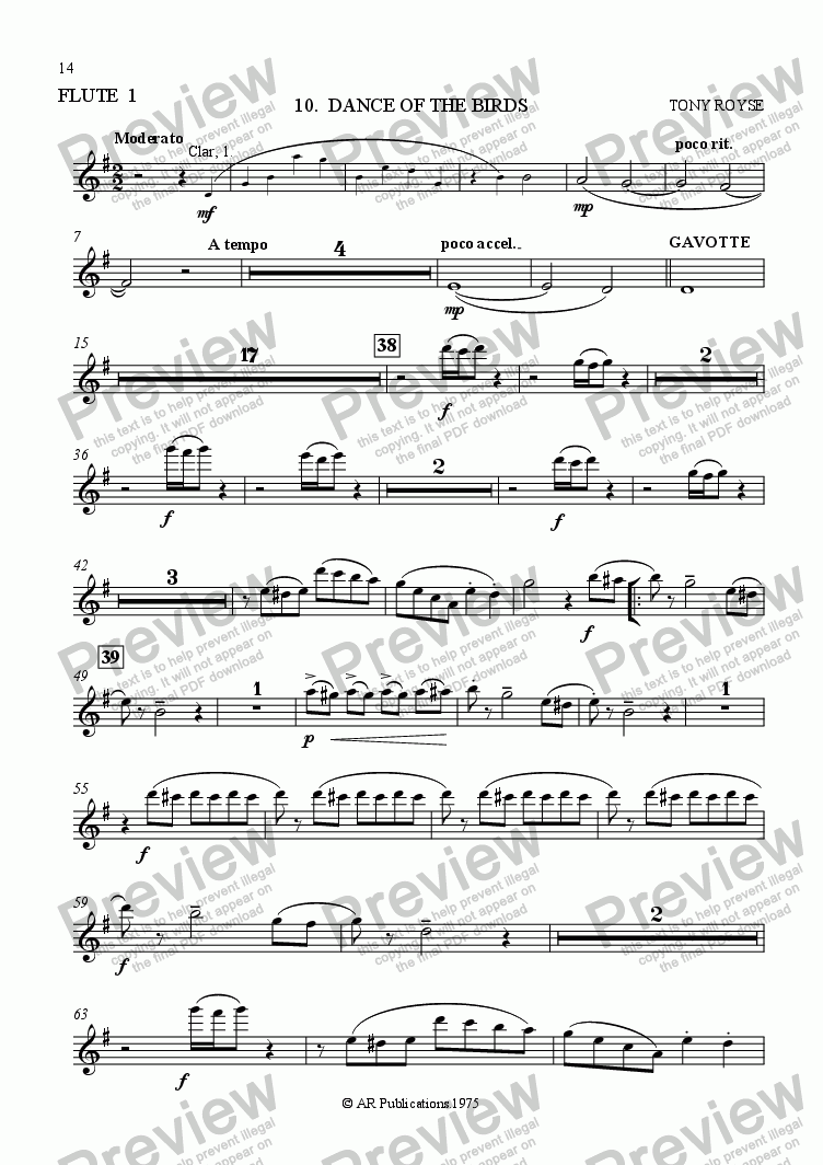 page one of the Flute 1 part from Ballet: Alice In Wonderland (Act 1 - No. 10 & 11) Birds & Finale