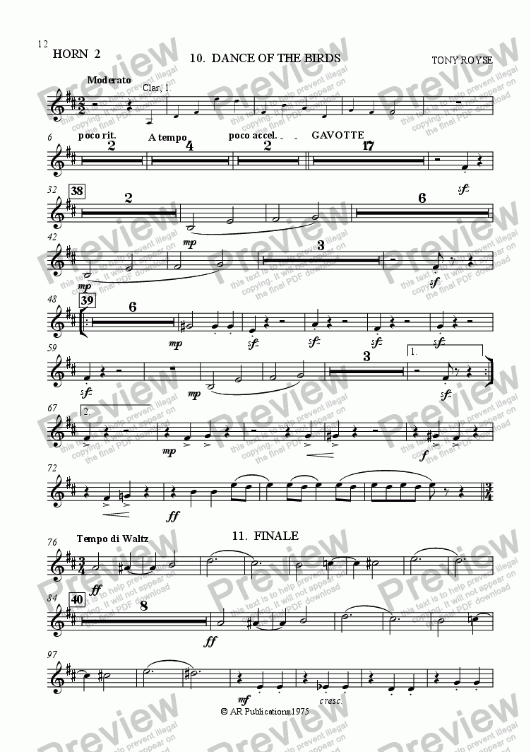 page one of the Horn 2 part from Ballet: Alice In Wonderland (Act 1 - No. 10 & 11) Birds & Finale