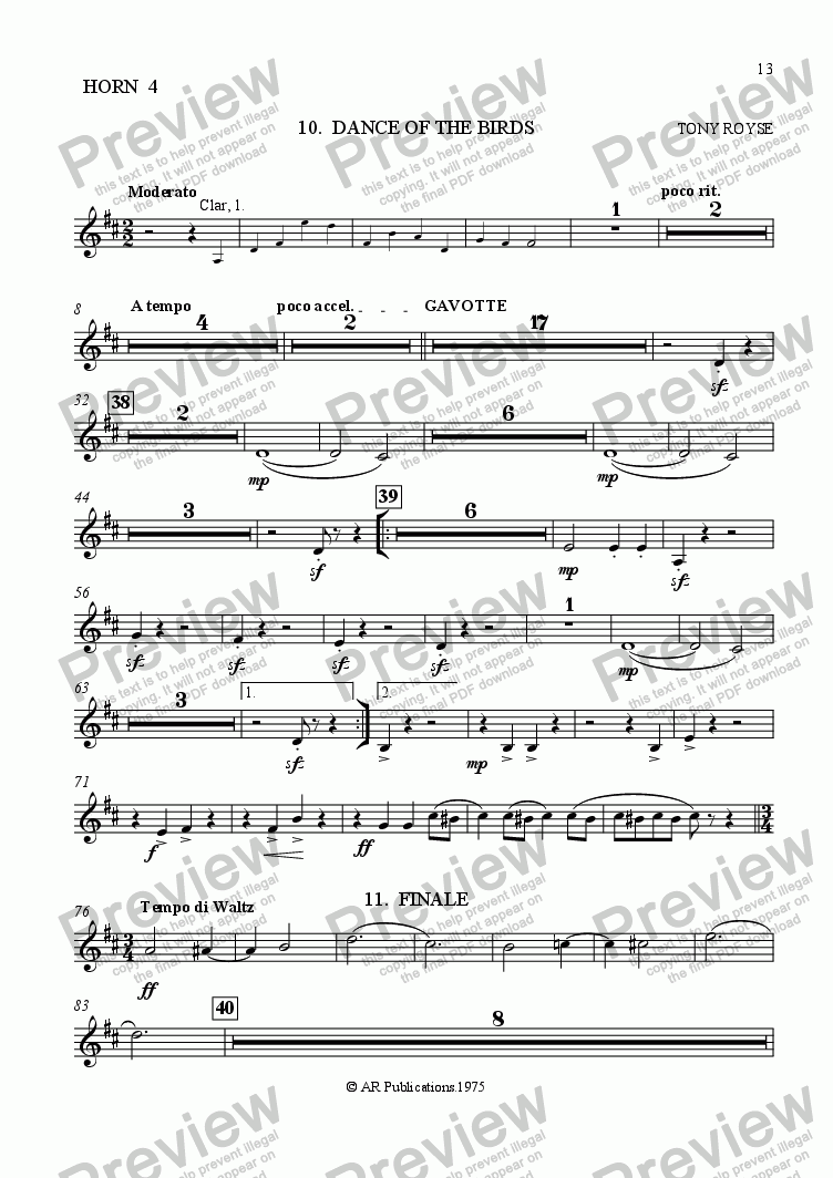 page one of the Horn 4 part from Ballet: Alice In Wonderland (Act 1 - No. 10 & 11) Birds & Finale