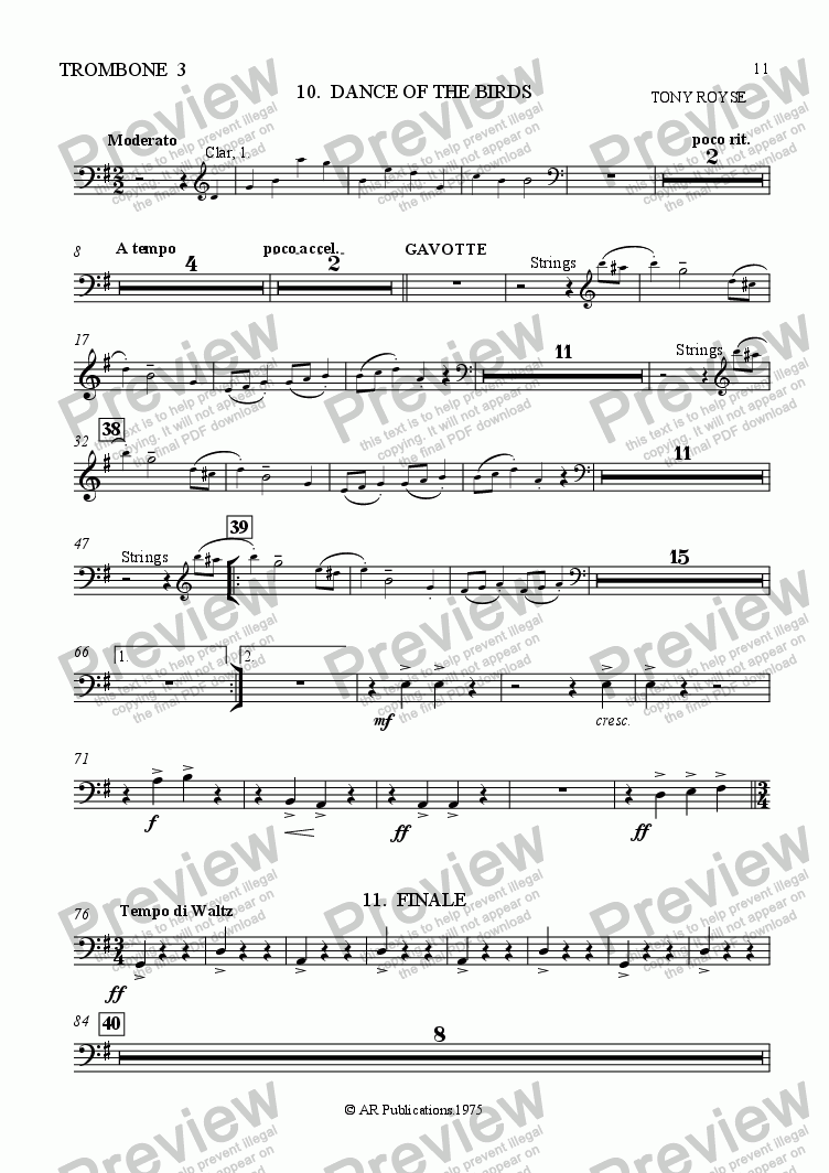 page one of the Tromb. 3 part from Ballet: Alice In Wonderland (Act 1 - No. 10 & 11) Birds & Finale