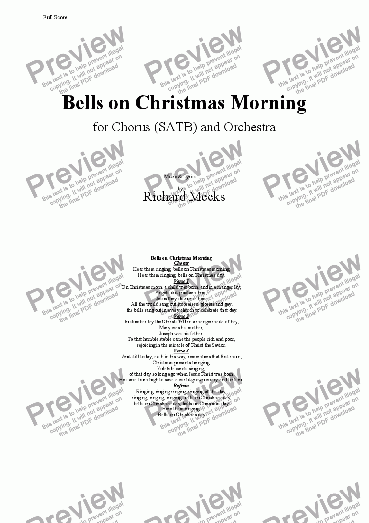 page one of the Orchestra Bells part from Bells on Christmas Morning