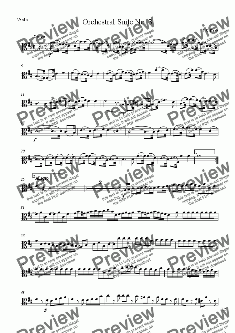 page one of the Viola part from Bach Orchestral Suite No. 3 for String Quartet