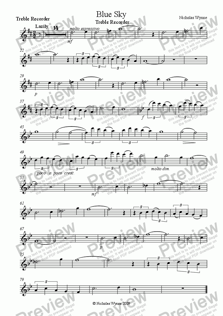 page one of the Treble Recorder part from Blue Sky for Treble Recorder and Piano