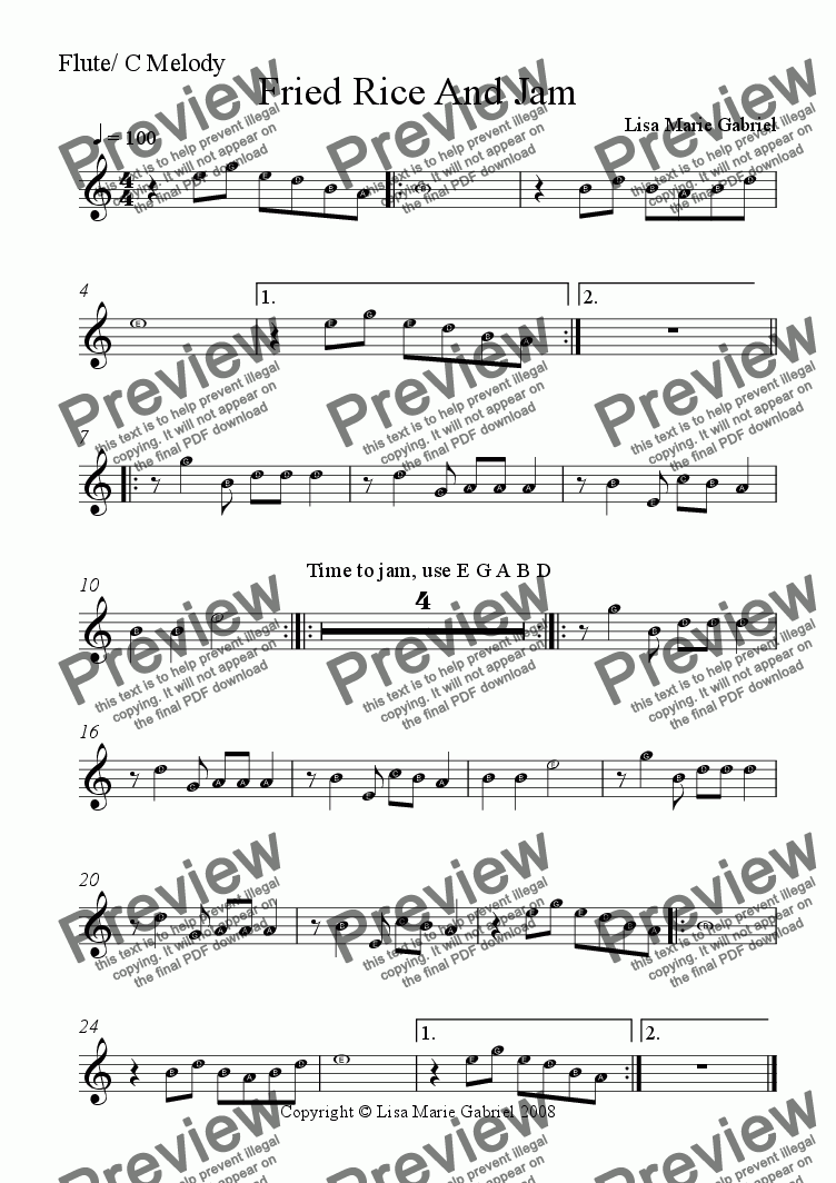 page one of the Flute/C melody part from Fried Rice and Jam - Indie Groove for Guitars, Keys and Woodwind