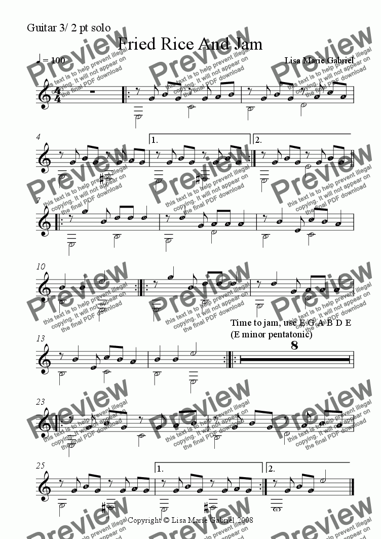 page one of the Guitar 3/fingerstyle solo part from Fried Rice and Jam - Indie Groove for Guitars, Keys and Woodwind