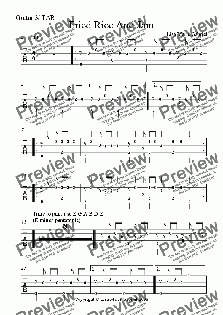 page one of the Guitar 3/fingerstyle solo TAB part from Fried Rice and Jam - Indie Groove for Guitars, Keys and Woodwind