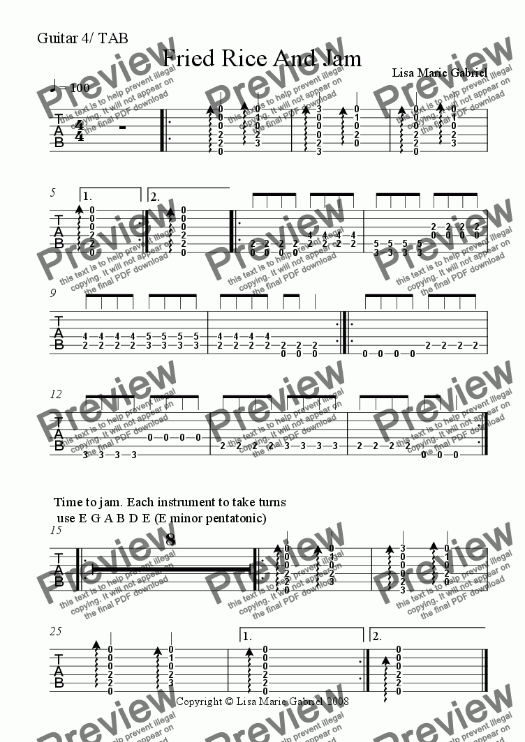 page one of the Guitar 4 chords/rhythm TAB part from Fried Rice and Jam - Indie Groove for Guitars, Keys and Woodwind