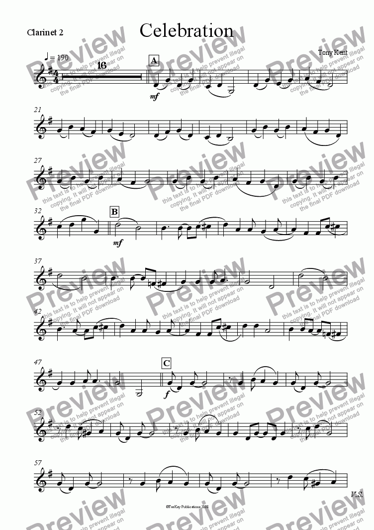 page one of the Clarinet 2 part from Celebration