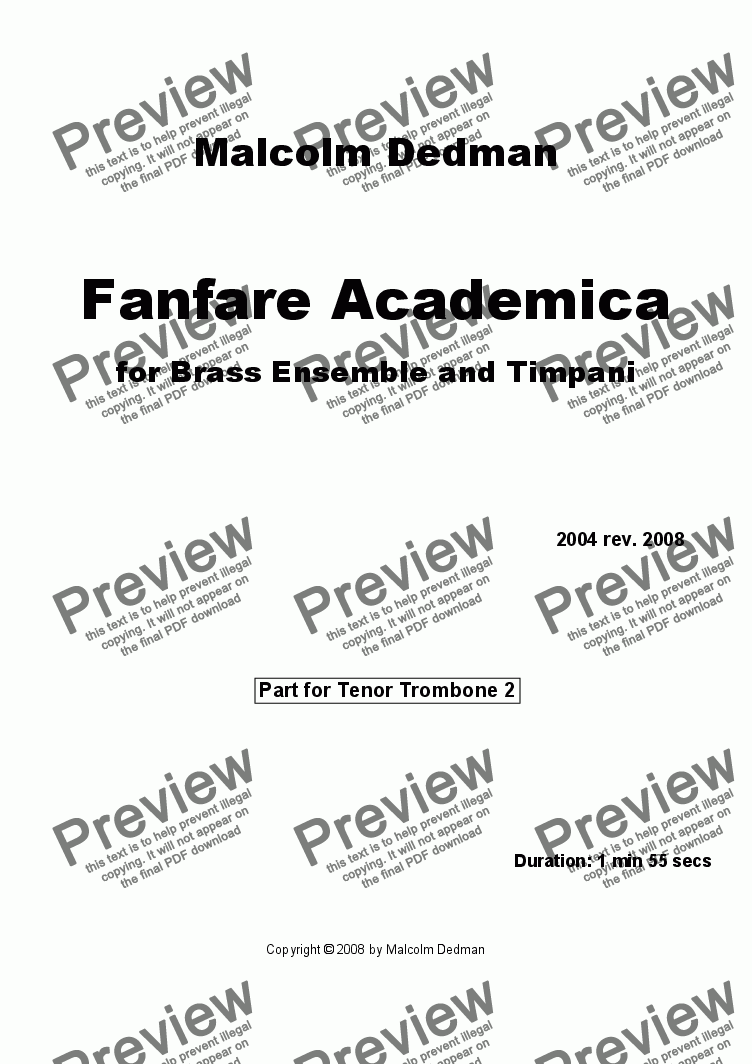 page one of the Trombone 2 part from Fanfare Academica