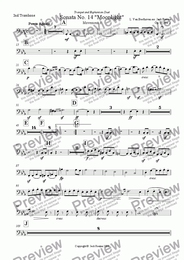page one of the 2nd Trombone part from Moonlight Sonata - 3rd Movement (C Minor) - Orchestra with Trumpet and Euphonium Duet