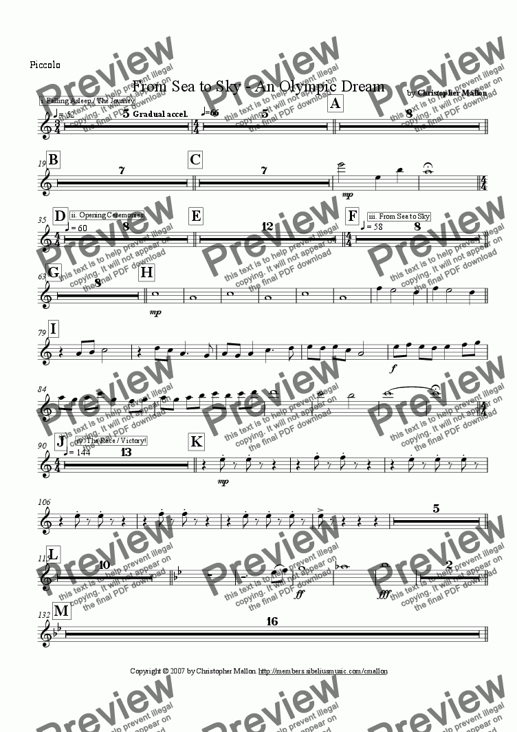page one of the Piccolo part from From Sea to Sky - An Olympic Dream