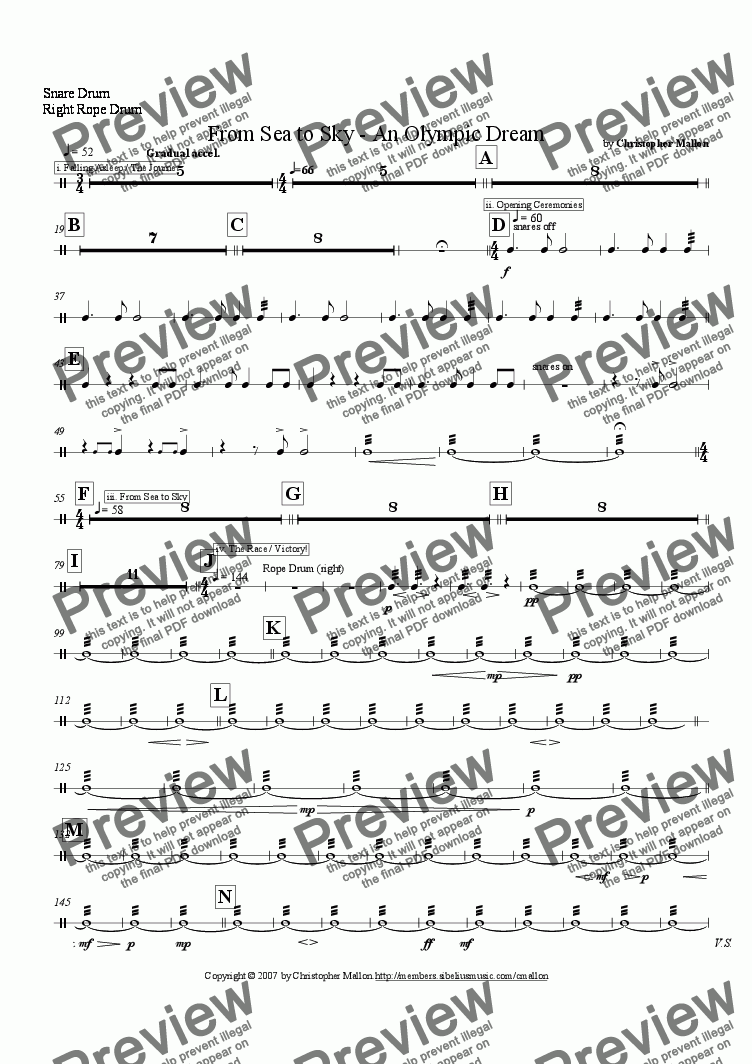 page one of the Snare Drum / Right Rope Drum part from From Sea to Sky - An Olympic Dream