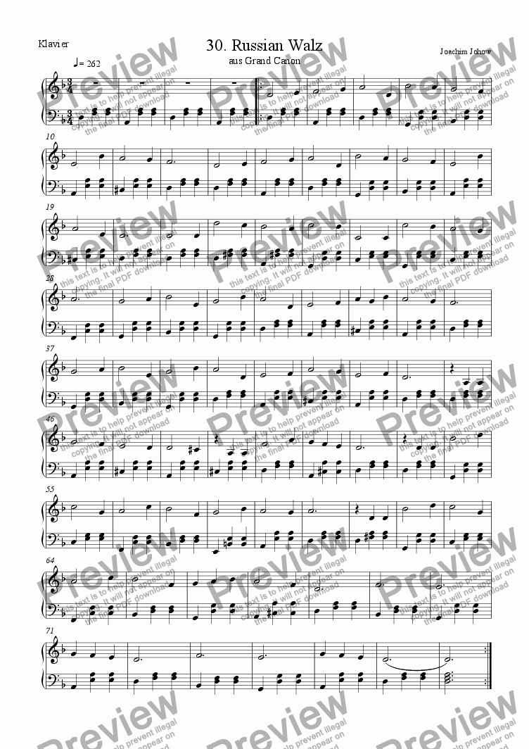 page one of the Piano part from Grand Canon 30 (Russian Walz)