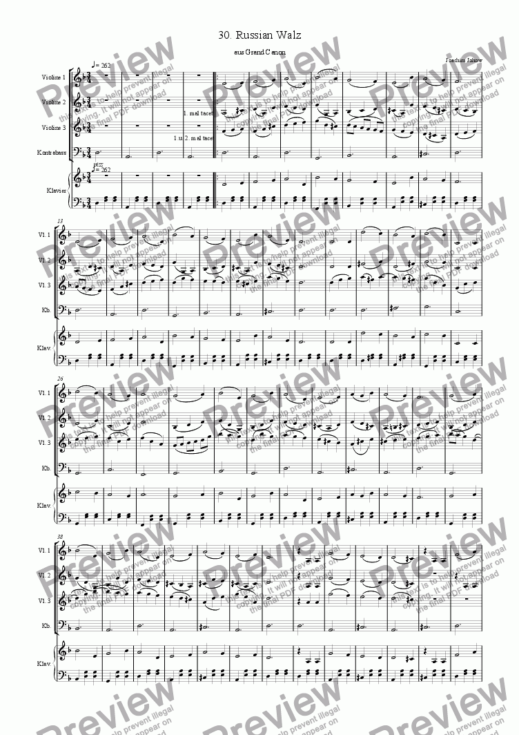 page one of the Score short part from Grand Canon 30 (Russian Walz)