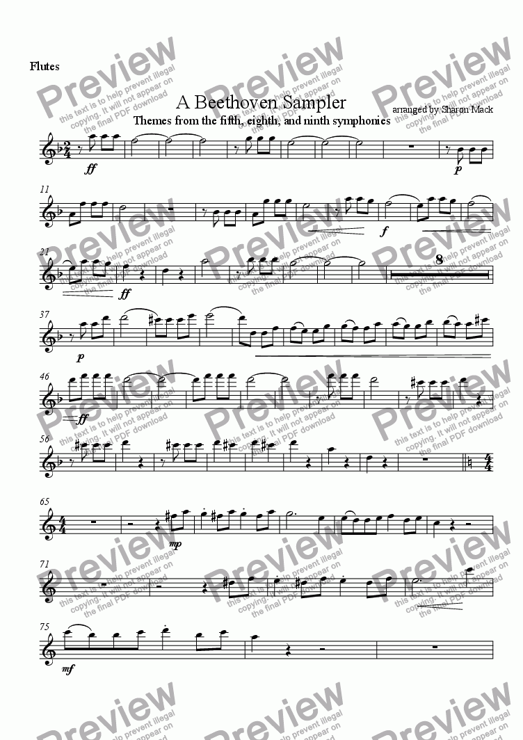 page one of the Flute part from A Beethoven Sampler