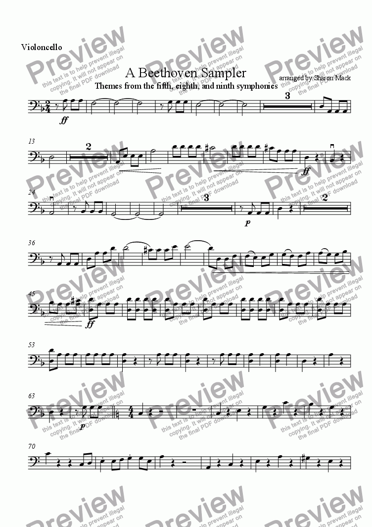 page one of the cello part from A Beethoven Sampler