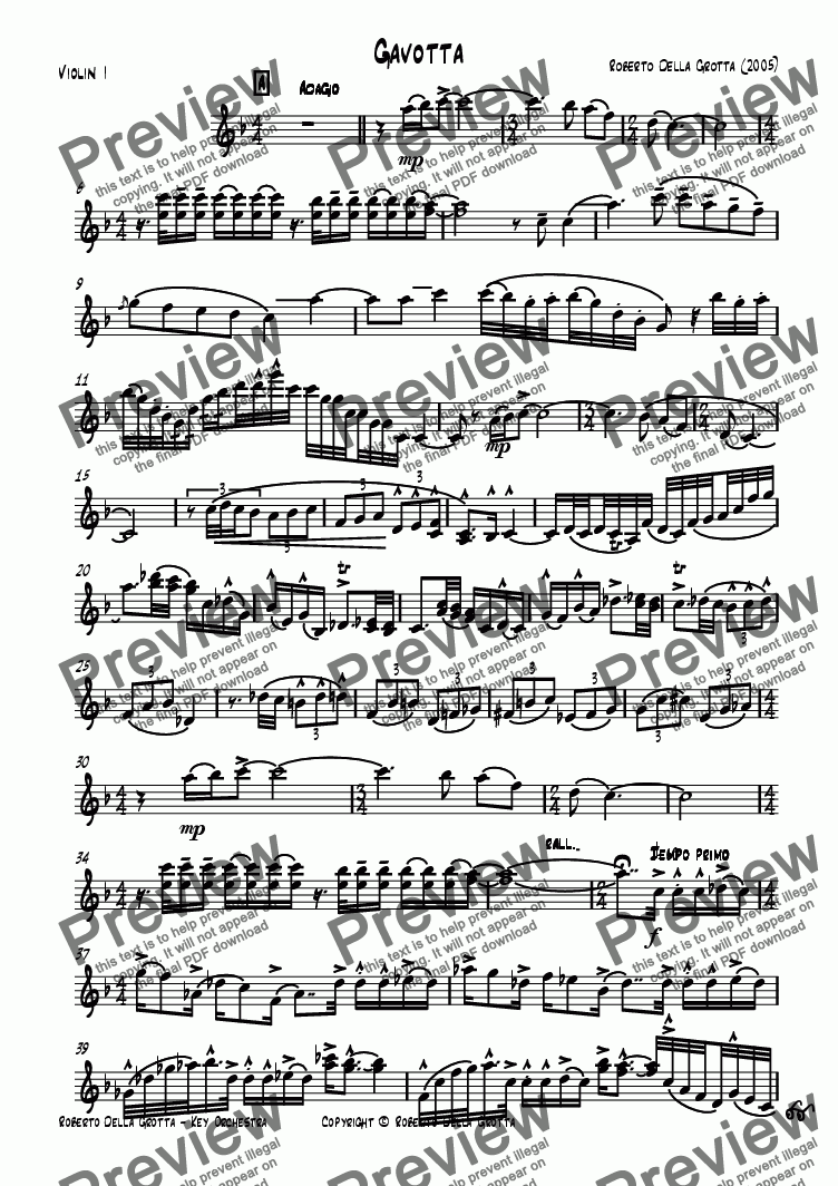 page one of the Violin I part from Gavotta