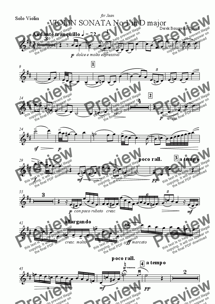 page one of the Violin Part 1st movement part from Violin Sonata No 1 1st movement