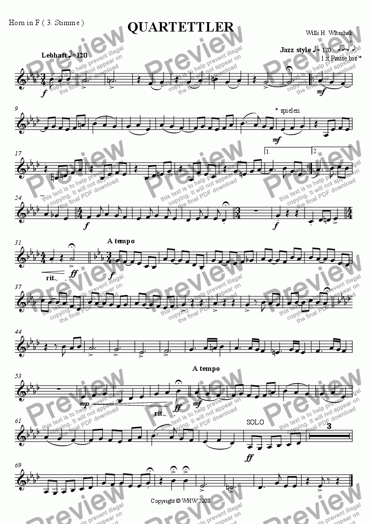 page one of the Horn in F ( 3rd Part ) part from QUARTETTLER