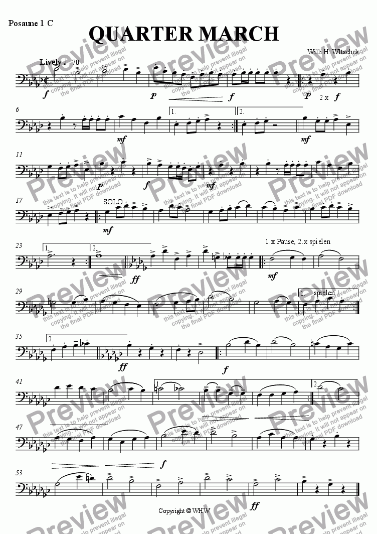 page one of the 1st Trombone C ( 3rd Part ) part from QUARTERMARCH