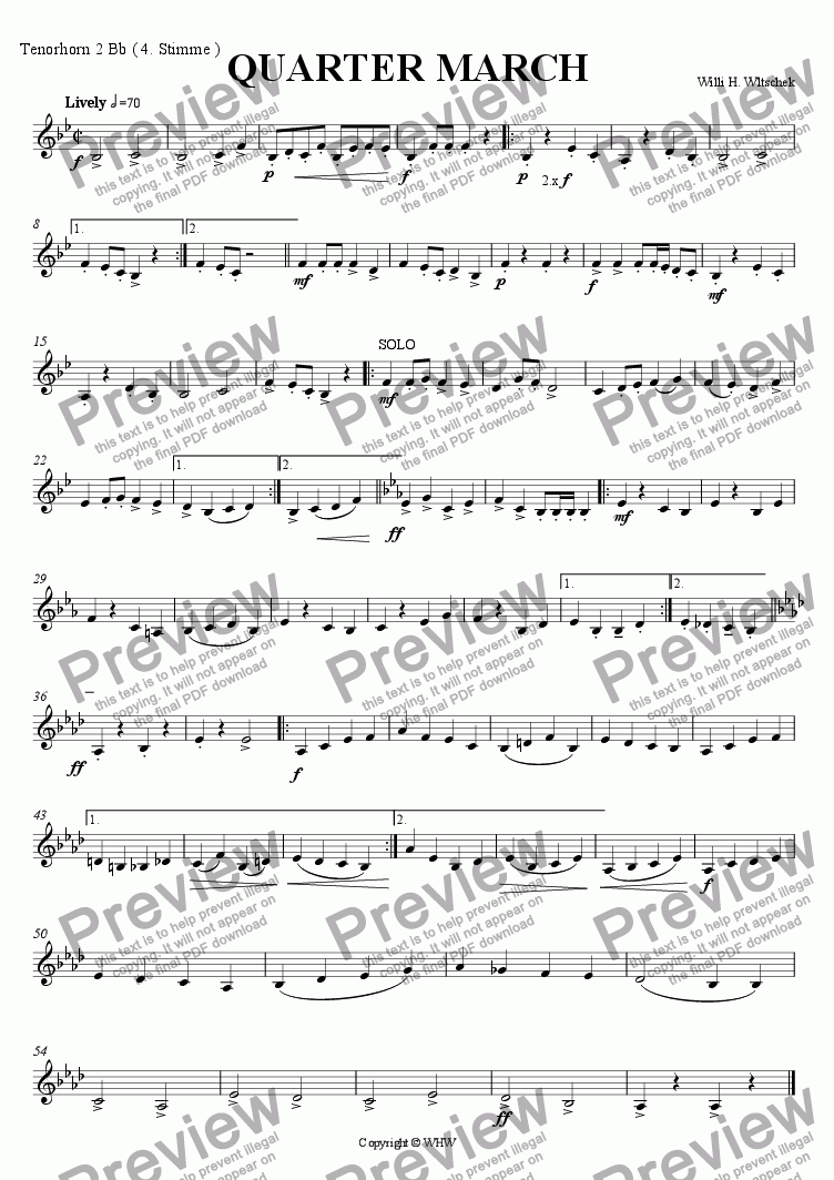 page one of the Tenorhorn 2 Bb ( 4th Part ) part from QUARTERMARCH