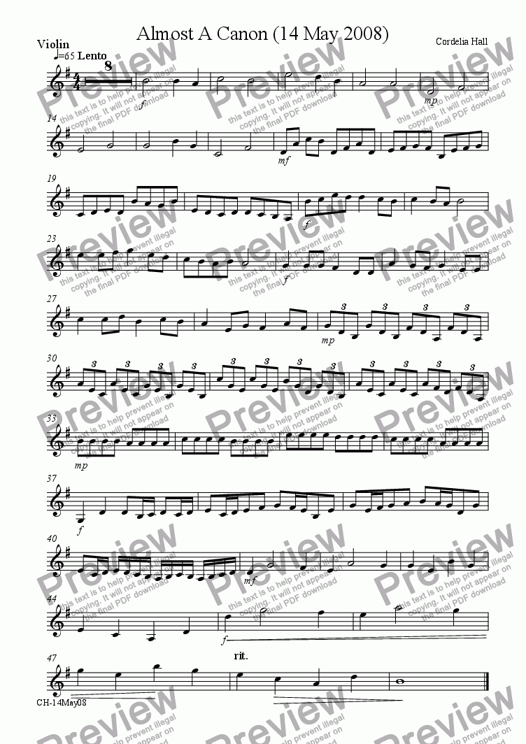 page one of the Violin part from Almost A Canon (18 May 2008)