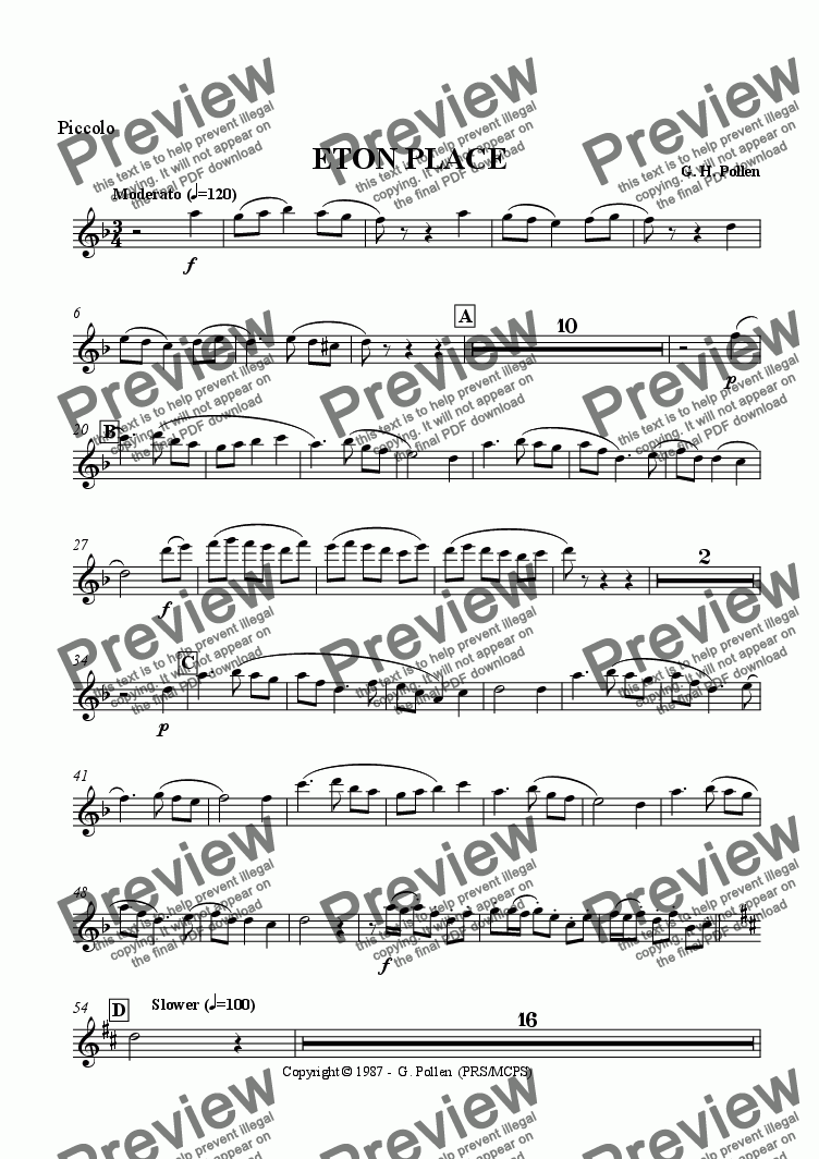 page one of the Piccolo part from Eton Place
