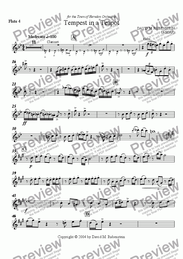 page one of the Flute 4 part from Tempest in a Teapot