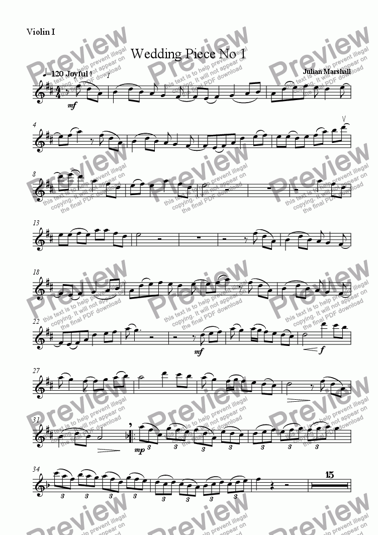 page one of the Violin 1 part from Wedding Piece No 1