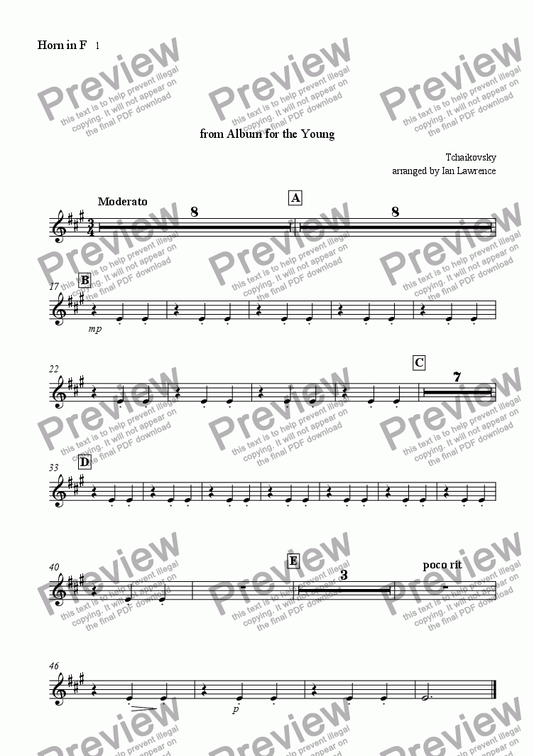 page one of the Horn in F 1 part from Italian Song from 'Album for the Young'