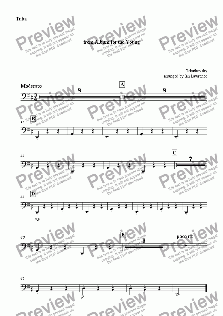 page one of the Tuba part from Italian Song from 'Album for the Young'