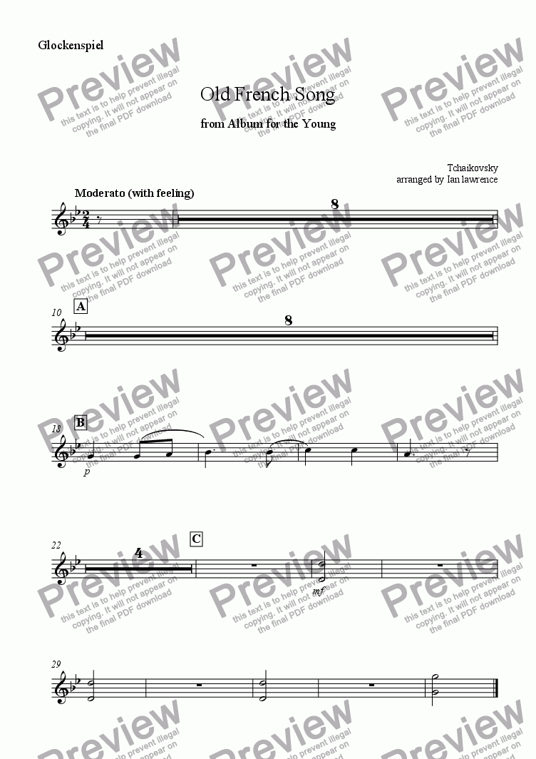 page one of the Mallet percussion - glockenspiel part from Old French Song from 'Album for the Young'