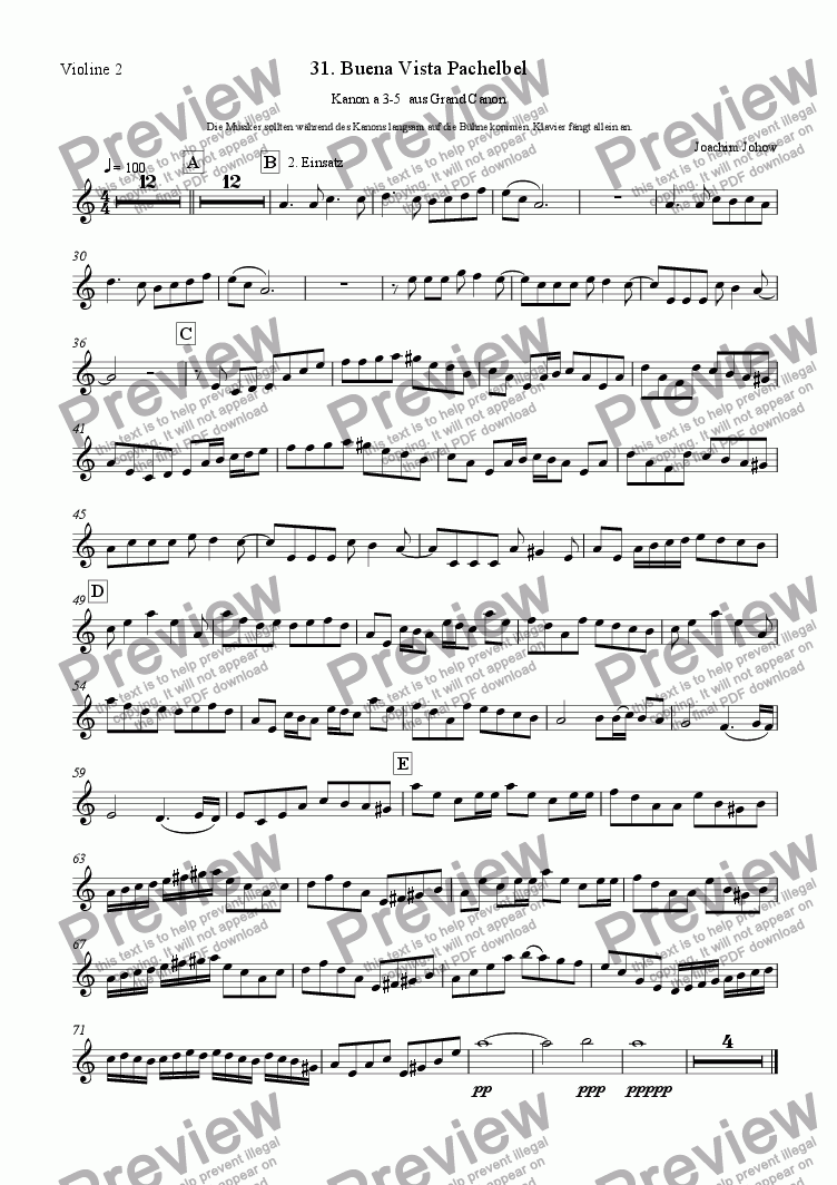 page one of the 2. Vl part from Grand Canon 31 (Buena Vista Pachelbel a 3 - 5 Vl)