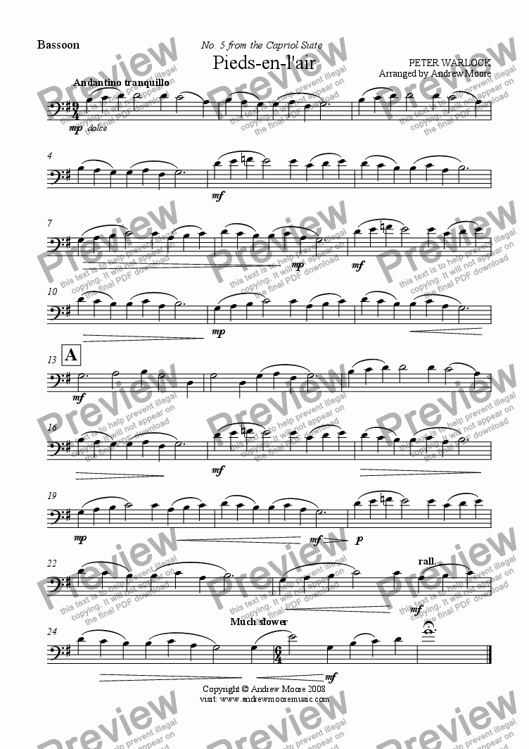 page one of the Bassoon part from Pieds-en-l'air from 'The Capriol Suite' for Bassoon & Piano