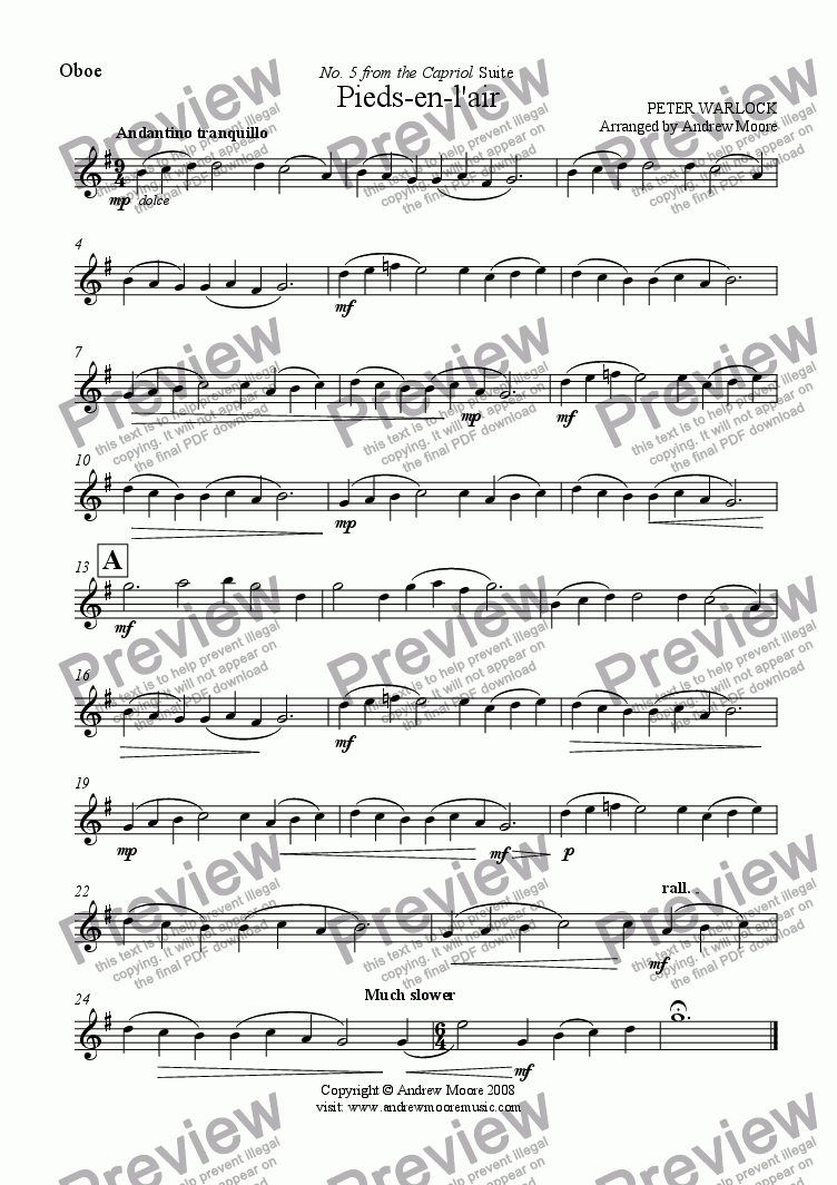 page one of the Oboe part from Pieds-en-l'air from 'The Capriol Suite' for Oboe & Piano