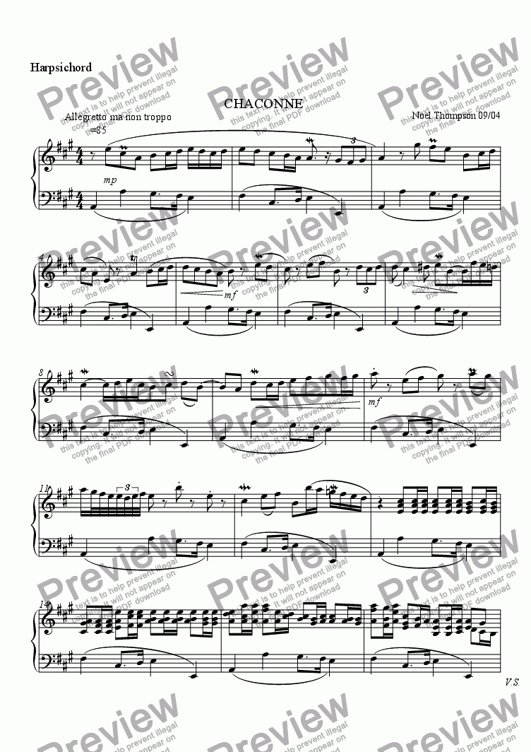 page one of the harpsichord part from Chaconne for String Orch.(or Quintet) and Harpsichord