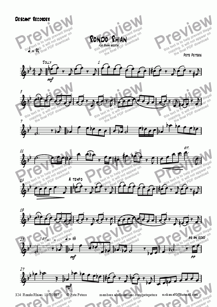 page one of the Flute or Recorder part from Rondo Rhian [solo inst + pno]