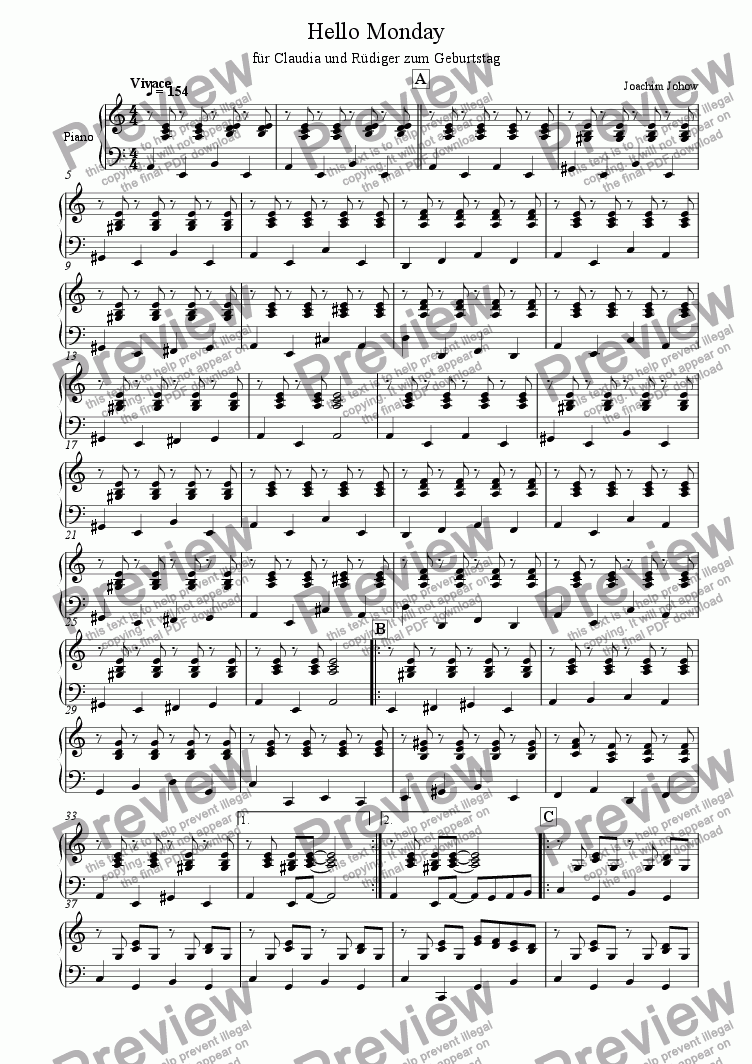 page one of the Piano part from Mimi 01 (Hello Monday - Folk Strings)