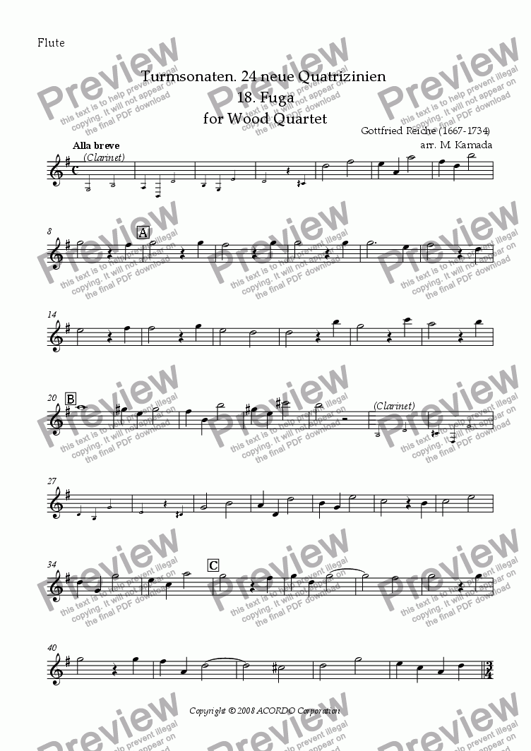 page one of the Flute part from Turmsonaten. 24 neue Quatrizinien 18. Fuga for Wood Quartet